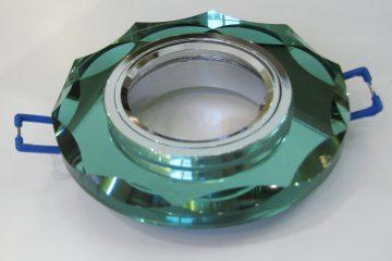 Светильник Ecola MR16, с вогнутыми гранями, Изумруд/ Хром