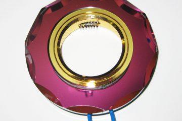 Светильник Ecola MR16, с вогнутыми гранями, Мультиколор/ Золото