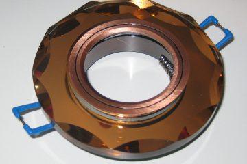 Светильник Ecola MR16, с вогнутыми гранями, Янтарь/ Черненая медь