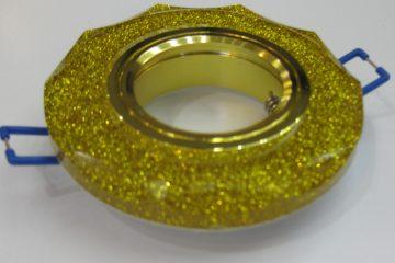 Светильник Ecola MR16, с вогнутыми гранями, Золотой блеск/ Золото