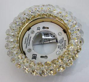 Светильник Ecola GX53, круглый с хрусталиками прозрачный золото