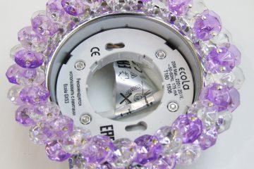 Светильник Ecola GX53, круглый с хрусталиками прозрачный и аметист хром