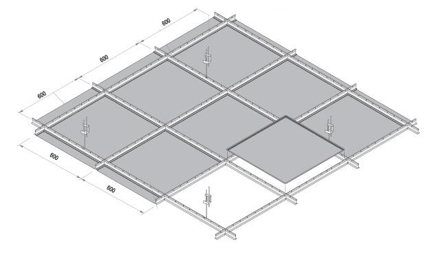 Открытый тип, когда на видимый Т-образный профиль подвесной системы укладываются кассеты