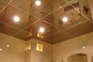 Зеркальный потолок Графит в ванной комнате подвесная система суперхром