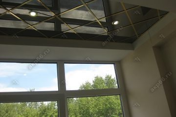 Зеркальный потолок в офисе подвесная система супер-золото