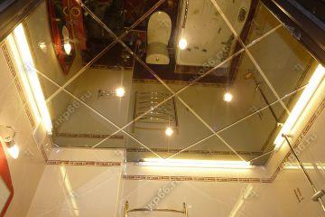 Потолок зеркальный в ванну со светильниками подвесная система супер золото