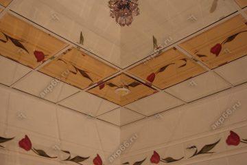 Зеркальный потолок в ванной комнате Бронза и серебро подвесная система суперхром