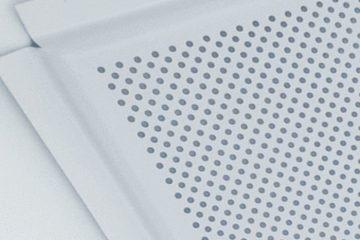 Кассета алюминиевая перфорация кромка Лайн цвет Белый матовый (595х595х0,4 мм перфорация d=2 мм) (36 шт./уп.)
