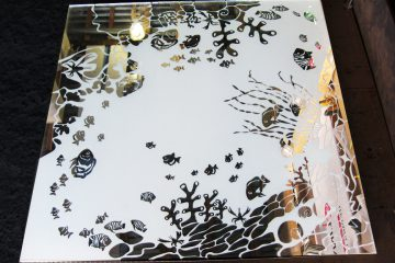 Декор № 003/2 595×595 мм (Серебро) матовый фон/зеркальный рисунок «Аквариум»