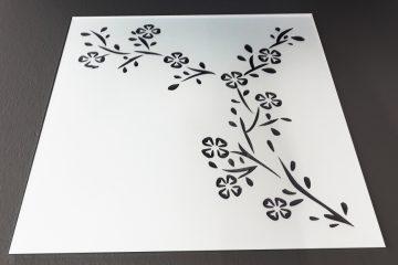 Декор № 005/2 295×295 мм (Серебро) матовый фон «Сакура-2»