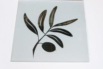 Декор № 007/2 295×295 мм (Серебро) матовый фон «Оливка»
