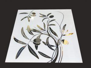 """Декор № 008/2 595x595 мм (Серебро) матовый фон/зеркальный рисунок """"Оливка"""""""