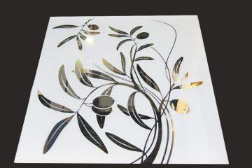 Декор № 008/2 595×595 мм (Серебро) матовый фон/зеркальный рисунок «Оливка»