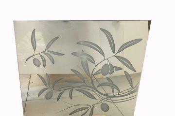 Декор № 008/1 595×595 мм (Серебро) зеркальный фон «Оливка»