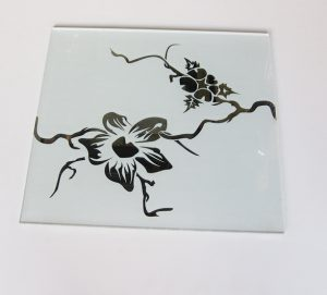 "Декор №010/2 295х295 мм (Серебро) матовый фон ""Орхидея"""
