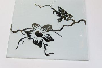 Декор № 010/2 295×295 мм (Серебро) матовый фон «Орхидея»