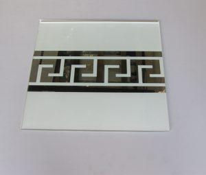 """Орнамент № 0103/1 295×295 мм (Серебро) Прямой элемент матовый фон """"Меандр-средний"""""""