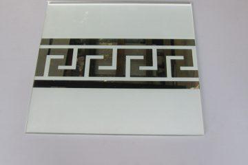 Орнамент № 0103/1 295×295 мм (Серебро) Прямой элемент матовый фон «Меандр-средний»