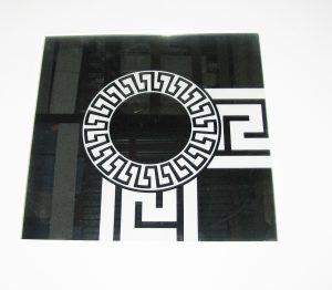 """Орнамент №0103/1 295x295 мм (Серебро) Угловой элемент зеркальный фон """"Меандр-средний (круг)"""""""