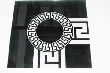 Орнамент № 0103/1 295×295 мм (Серебро) Угловой элемент зеркальный фон «Меандр-средний (круг)»