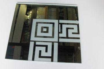 Орнамент № 0103/1 295×295 мм (Серебро) Угловой элемент зеркальный фон «Меандр-средний (квадрат)»