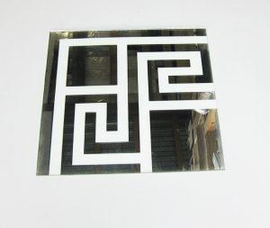 """Орнамент № 0105/1 295×295 мм (Серебро) Угловой элемент зеркальный фон """"Греция"""""""