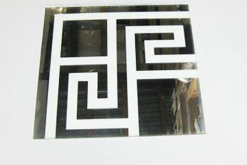 Орнамент № 0105/1 295×295 мм (Серебро) Угловой элемент зеркальный фон «Греция»