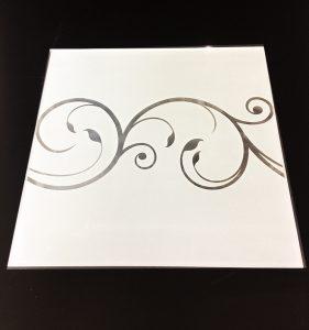 Орнамент № 0108/2  295×295 мм (Серебро) Прямой элемент матовый фон