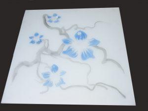 """Декор № 011/2 595×595 мм цветная синяя """"Орхидея"""""""