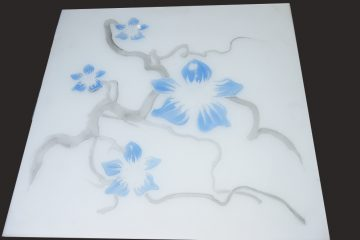 Декор № 011/2 595×595 мм цветная синяя «Орхидея»