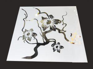 """Декор № 011/2 595x595 мм (Серебро) матовый фон/зеркальный рисунок """"Орхидея"""""""