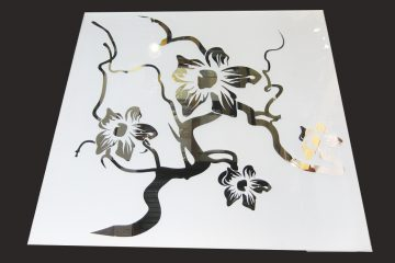 Декор № 011/2 595×595 мм (Серебро) матовый фон/зеркальный рисунок «Орхидея»