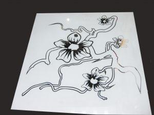 """Декор № 012/2 595x595 мм (Серебро) матовый фон/зеркальный рисунок """"Орхидея линии"""""""