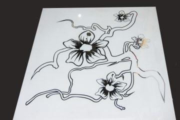 Декор № 012/2 595×595 мм (Серебро) матовый фон/зеркальный рисунок «Орхидея линии»