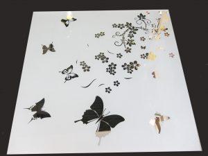 """Декор № 013/2 595x595 мм (Серебро) матовый фон/зеркальный рисунок """"Лето"""""""