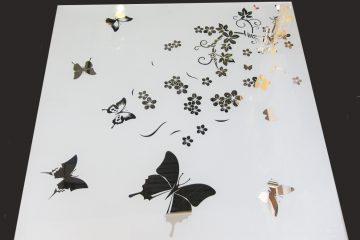 Декор № 013/2 595×595 мм (Серебро) матовый фон/зеркальный рисунок «Лето»