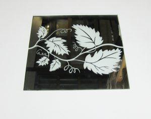"""Орнамент № 0131/1 295×295 мм (Серебро) Прямой элемент зеркальный фон """"Лоза"""""""