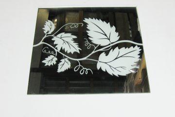Орнамент № 0131/1 295×295 мм (Серебро) Прямой элемент зеркальный фон «Лоза»