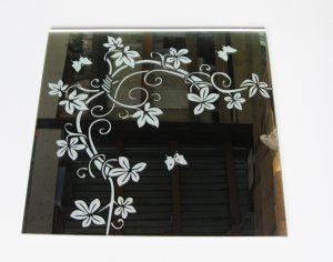 """Орнамент № 0135/1 295×295 мм (Серебро) Угловой элемент зеркальный фон """"Вьюн"""""""