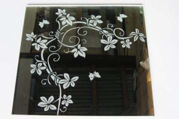 Орнамент № 0135/1 295×295 мм (Серебро) Угловой элемент зеркальный фон «Вьюн»