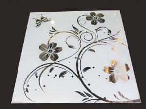 """Декор № 019/2 595x595 мм (Серебро) матовый фон/зеркальный рисунок """"Аленький цветочек"""""""