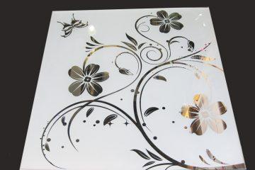 Декор № 019/2 595×595 мм (Серебро) матовый фон/зеркальный рисунок «Аленький цветочек»