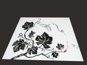 """Декор № 021/2 595x595 мм (Серебро) матовый фон/зеркальный рисунок """"Стрекоза"""""""