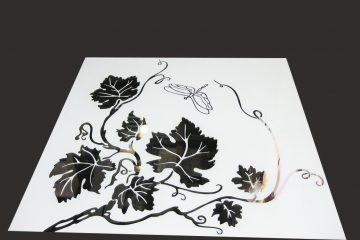 Декор № 021/2 595×595 мм (Серебро) матовый фон/зеркальный рисунок «Стрекоза»