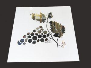 """Декор № 022/2 595x595 мм (Серебро) матовый фон/зеркальный рисунок """"Ветка винограда"""""""