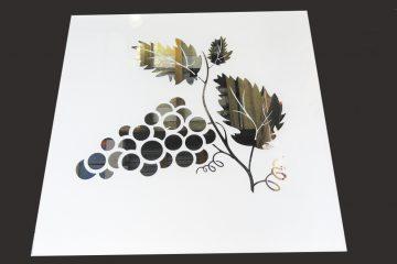 Декор № 022/2 595×595 мм (Серебро) матовый фон/зеркальный рисунок «Ветка винограда»