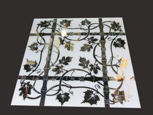 """Декор № 027/2 595x595 мм (Серебро) матовый фон/зеркальный рисунок """"Бамбук"""""""