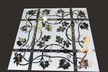 Декор № 027/2 595×595 мм (Серебро) матовый фон/зеркальный рисунок «Бамбук»