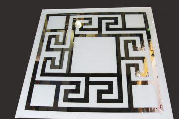 Декор № 028/2 595×595 мм (Серебро) матовый фон/зеркальный рисунок «Греция»