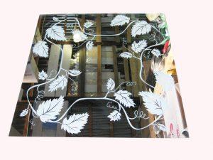 "Декор № 030/1 595x595 мм (Серебро) зеркальный фон ""Лоза"""